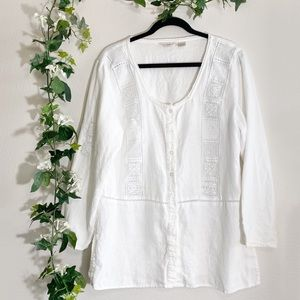 J. Jill White Crochet Lace Linen Blouse